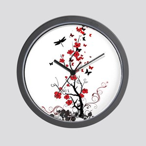 Black and Red Flowers Wall Clock