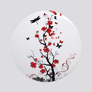 Black and Red Flowers Round Ornament