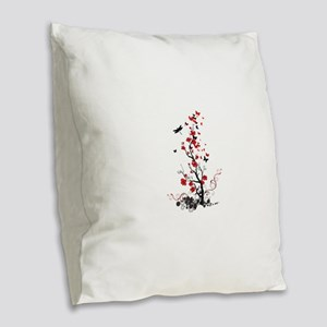 Black and Red Flowers Burlap Throw Pillow