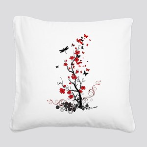Black and Red Flowers Square Canvas Pillow