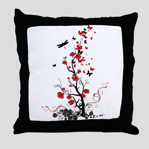 Black and Red Flowers Throw Pillow
