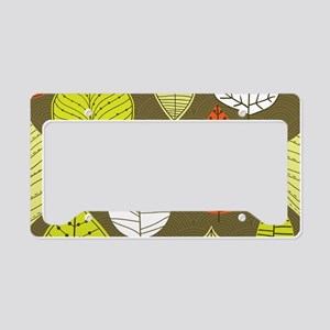 Leaves on Green Mid Century Modern License Plate H