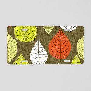 Leaves on Green Mid Century Modern Aluminum Licens