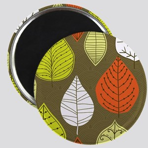 Leaves on Green Mid Century Modern Magnets