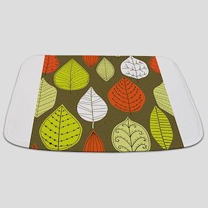 Leaves on Green Mid Century Modern Bathmat