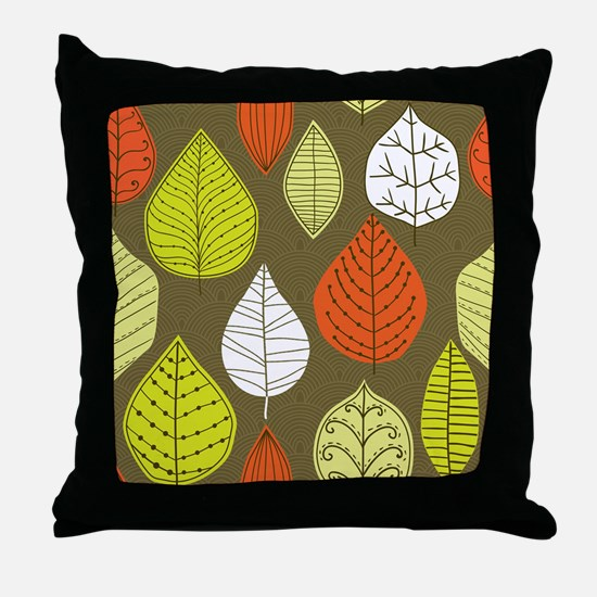 Leaves on Green Mid Century Modern Throw Pillow