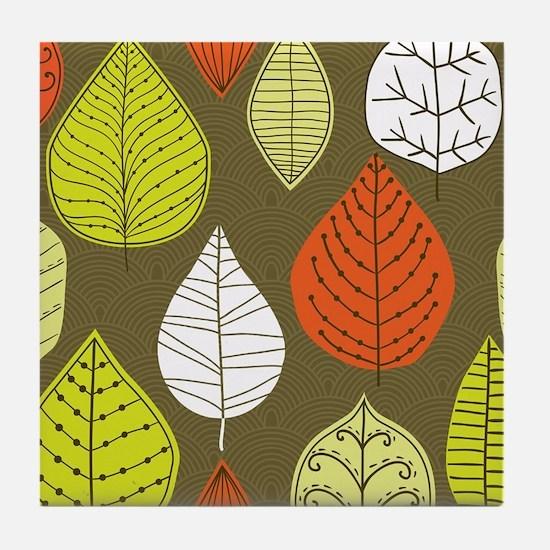 Leaves on Green Mid Century Modern Tile Coaster