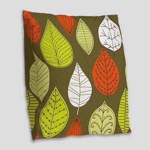 Leaves on Green Mid Century Modern Burlap Throw Pi
