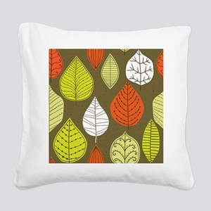 Leaves on Green Mid Century Modern Square Canvas P