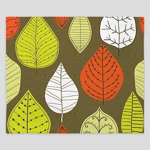 Leaves on Green Mid Century Modern King Duvet