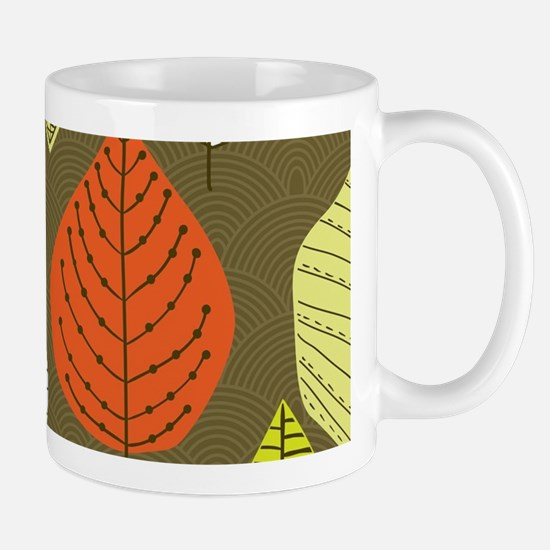 Leaves on Green Mid Century Modern Mugs