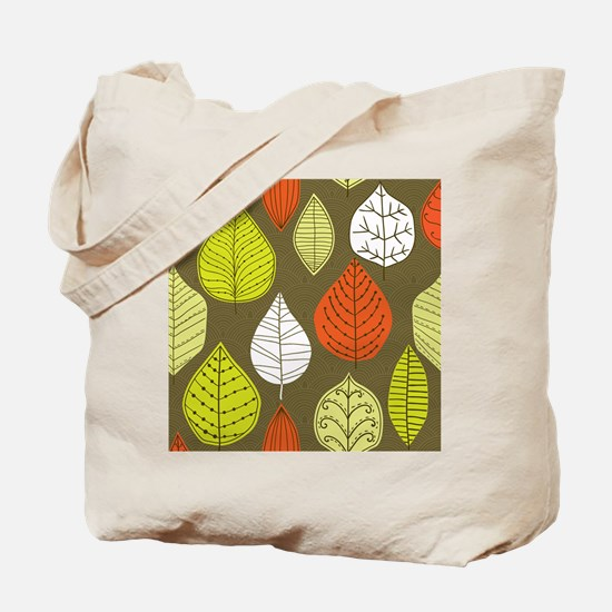 Leaves on Green Mid Century Modern Tote Bag