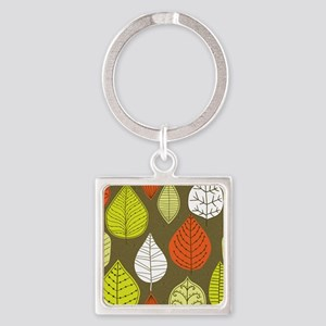 Leaves on Green Mid Century Modern Keychains
