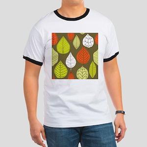 Leaves on Green Mid Century Modern T-Shirt