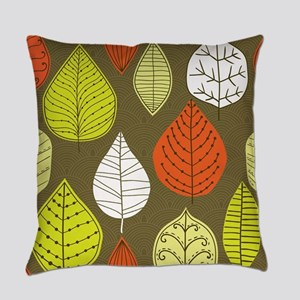 Leaves on Green Mid Century Modern Everyday Pillow