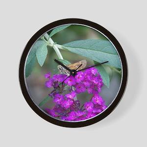 Butterfly on Butterfly Bush Wall Clock