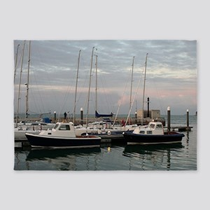 Sunset and boats, Isle of Wight 5'x7'Area Rug