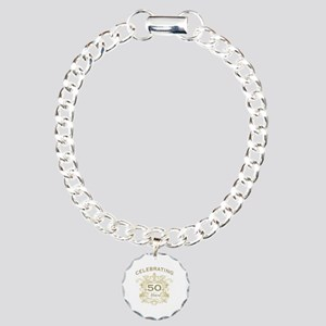 50th Wedding Anniversary Charm Bracelet, One Charm
