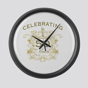 50th Wedding Anniversary Large Wall Clock