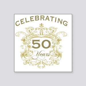 "50th Wedding Anniversary Square Sticker 3"" x 3"""