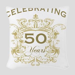 50th Wedding Anniversary Woven Throw Pillow