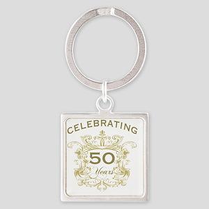 50th Wedding Anniversary Square Keychain