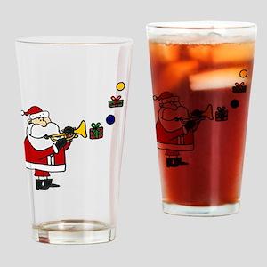 Christmas Santa Playing Trumpet Drinking Glass