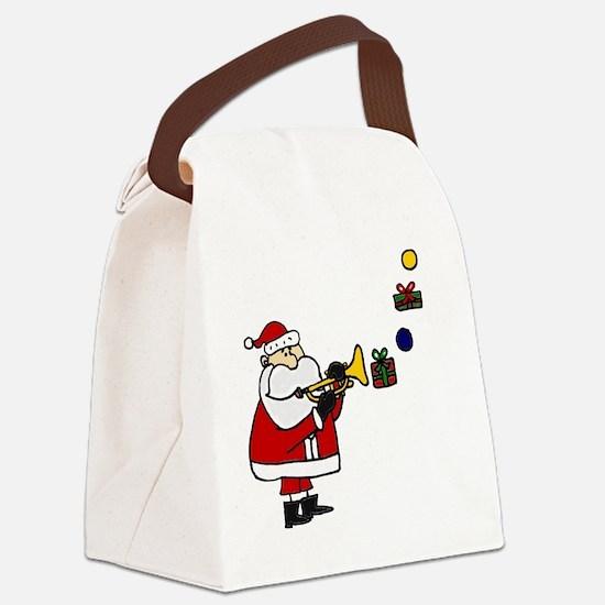 Christmas Santa Playing Trumpet Canvas Lunch Bag