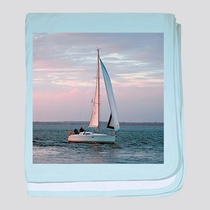 Yacht at sunset, Isle of Wight baby blanket