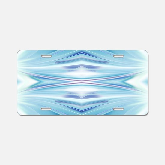 ombre blue ikat girly patte Aluminum License Plate