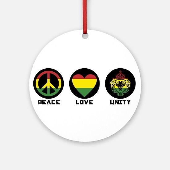 PEACE LOVE UNITY Reggae lion Round Ornament