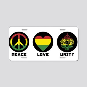 PEACE LOVE UNITY Reggae lion Aluminum License Plat