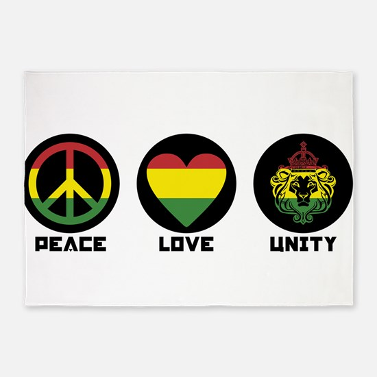 PEACE LOVE UNITY Reggae lion 5'x7'Area Rug