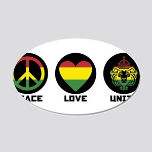 PEACE LOVE UNITY Reggae lion Wall Decal