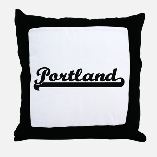Portland Oregon Classic Retro Design Throw Pillow