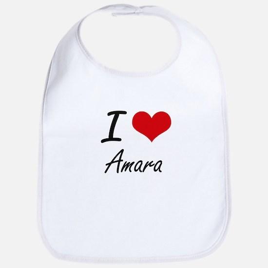 I Love Amara artistic design Bib