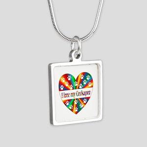 Cockapoo Love Silver Square Necklace