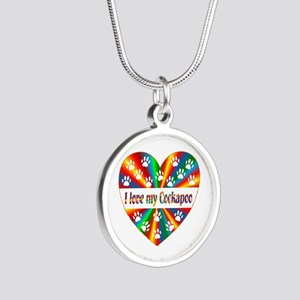 Cockapoo Love Silver Round Necklace