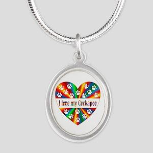 Cockapoo Love Silver Oval Necklace