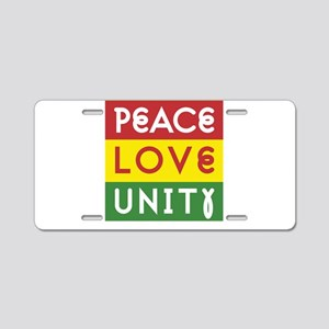 PEACE LOVE UNITY - Reggae Aluminum License Plate