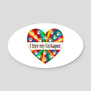 Cockapoo Love Oval Car Magnet