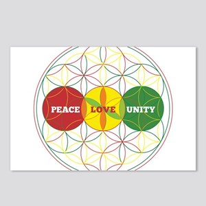 PEACE LOVE UNITY - flower of life Postcards (Packa