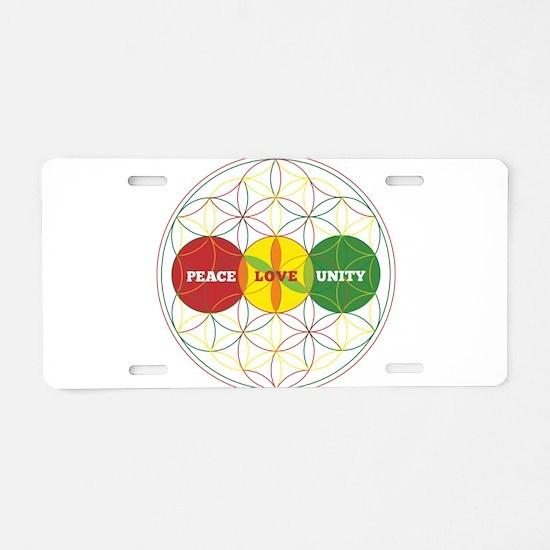 PEACE LOVE UNITY - flower of life Aluminum License