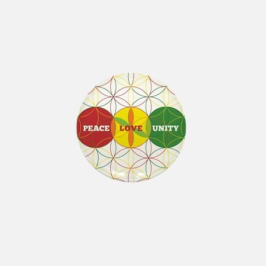 PEACE LOVE UNITY - flower of life Mini Button