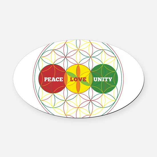 PEACE LOVE UNITY - flower of life Oval Car Magnet