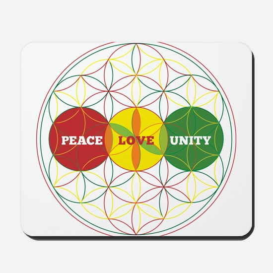PEACE LOVE UNITY - flower of life Mousepad