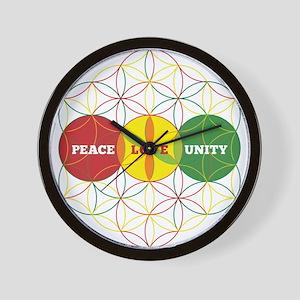 PEACE LOVE UNITY - flower of life Wall Clock