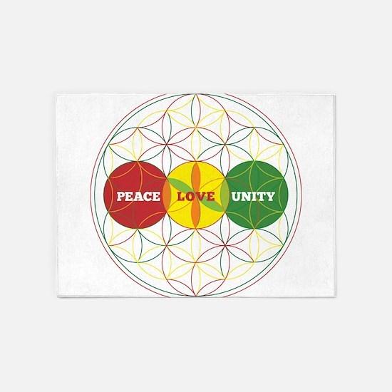 PEACE LOVE UNITY - flower of life 5'x7'Area Rug