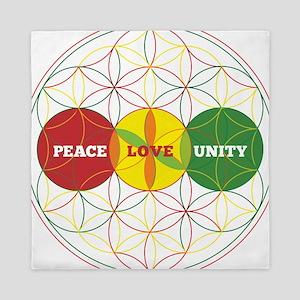 PEACE LOVE UNITY - flower of life Queen Duvet