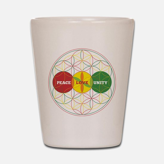 PEACE LOVE UNITY - flower of life Shot Glass